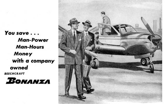 Advertisement for Beechcraft Bonanza May 1947.