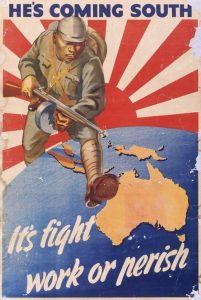 "Australian WWII propaganda poster ""He's Coming South""."