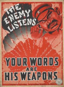 Australian WWII Poster urging people not to provide the enemy with vital information through careless talk.