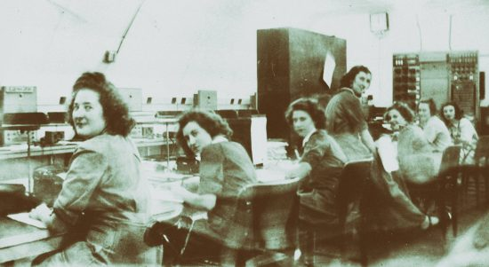 Ladies of the WAAAF operating the AR7 receivers withing the Communications Bunker.