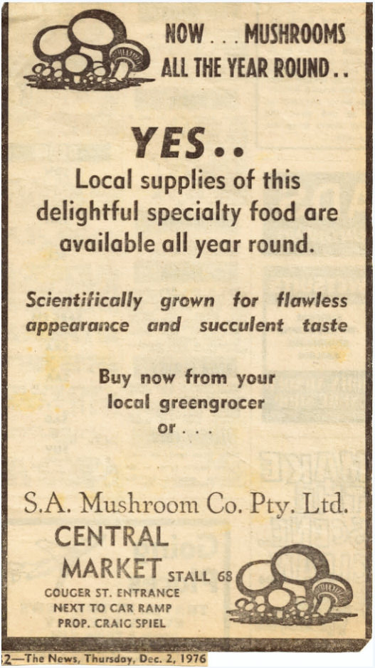 Advertisement for Central Market Stall. (c1976. Source: Supplied)