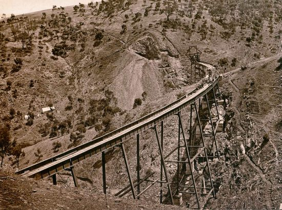 View of the partially completed viaduct over the steep gullies of Wattipparringga Creek. (c.1882)
