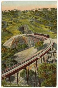 A c1910 postcard of a locomotive atop the Viaducts with Tunnel No. 2 in the background.