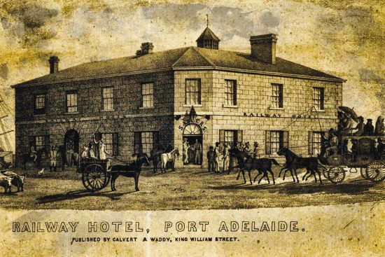 The Railway Hotel, Port Adelaide c.1850.