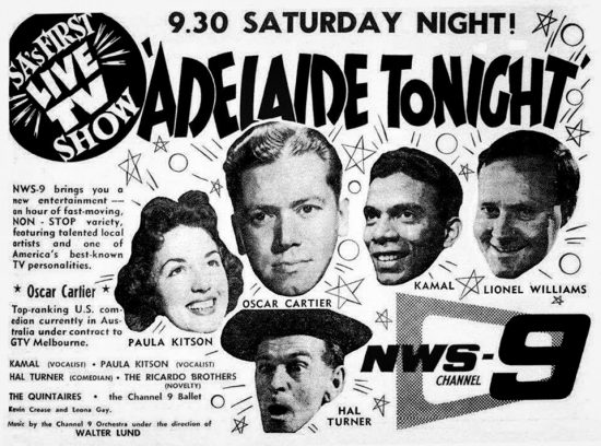 Newspaper advert for the very first Adelaide Tonight that went to air on 17th October 1959.