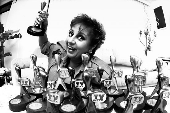 Adelaide TV personality Anne Wills with her 16 TV Week Logie Awards.