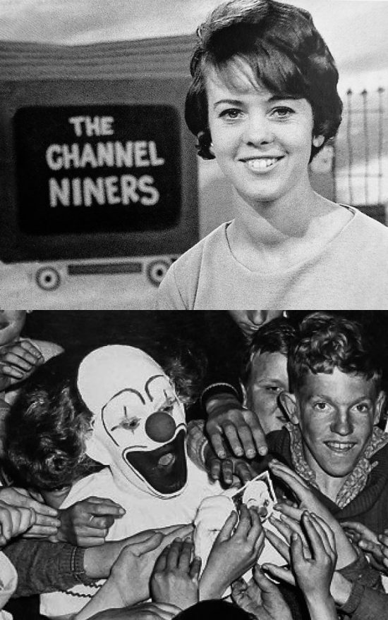 Top: Denny Snowden hosting the hugely popular The Channel Niners childrens program. Bottom: Bobo the Clown (Hal Turner) mobbed by children.