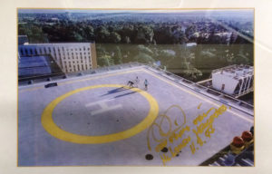 Photograph of The Royal Adelaide Hospital Helipad signed by Mika Hakkinen.