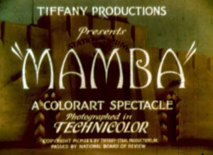 1930s film MAMBA movie credits.
