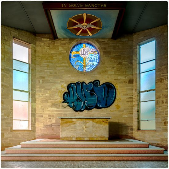 Carmelite Monastery Church, recent vandalism.