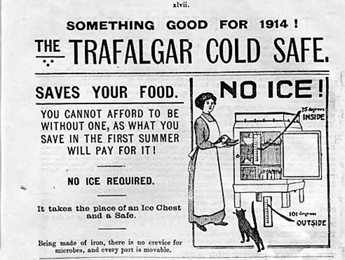 1913 Trafalgar Cold Safe Advertisement from an Adelaide Railways Timetable.