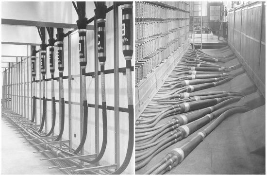 Telephone exchange cable tunnel and Main Distribution Frame.